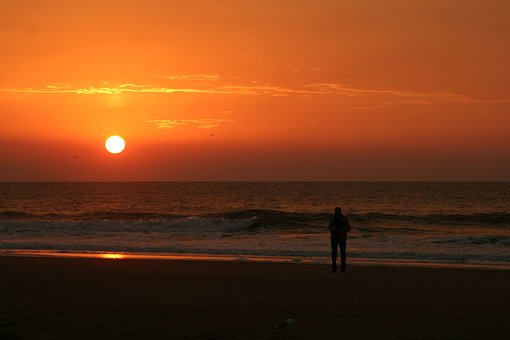 Beach, Sunset, Den-haag, Sea, View, Silhouette