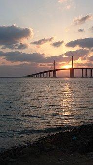 Sun Setting, Bridge, Dusk