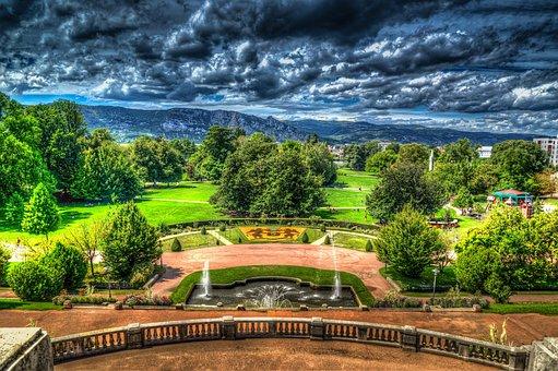 Valence, Parc Jouvet, Park, City, Hdr, France, Europe