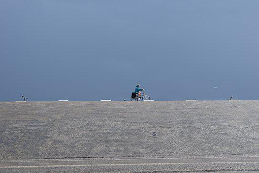 Dike, Sky, Architecture, Cyclist, Blue, Grey
