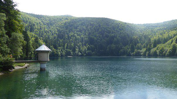 Lac Du Grand Ballon, Dam, Lake, Vosges, France, Alsace