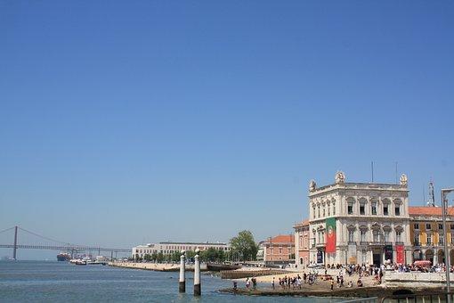 Lisbon, Portugal, Bridge, Plaza, Sea, City