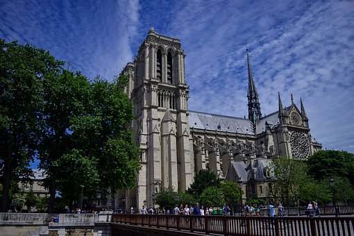 Church, Huge, Cathedral, Paris, Temple, France, Door