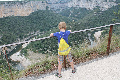 Child, Boy, Ardèche, Height, River, Valley, Security