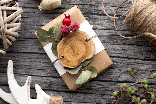 Gift, Wooden Desk, Christmas, New Year's Eve, Natural