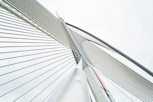 Bridge, Rope, Steel, Sky, Architecture, Structure, High