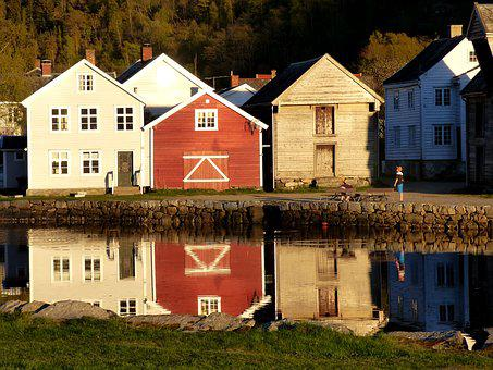 Houses, Village, River, Reflection, Sunset