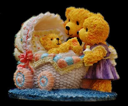 Family, Bear, Figures, Funny, Invitation, Parents, Baby