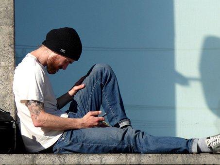 Man, Reading, Mobile, Phone, Hat, Black, Beard, Young