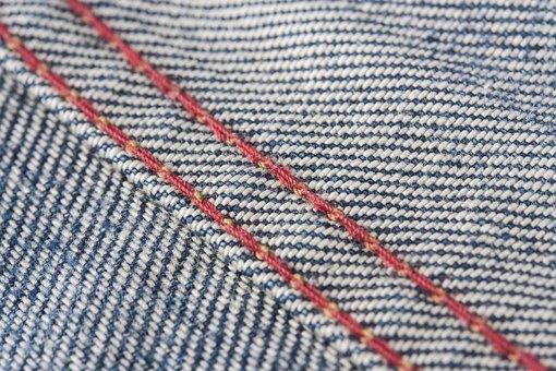Jeans, Fabric, Red, Denim, Horizontal, Textile, Macro