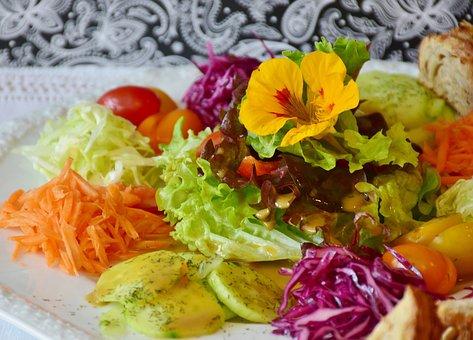 Salad, Salad Plate, Plate, Cutlery, Tableware