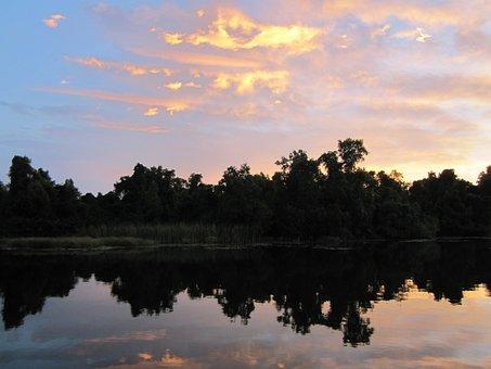 Sunset, Mirroring, Water, Lake