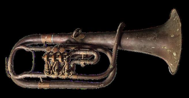 Trumpet, Old, Brass, Started, Verdigris, Instrument