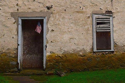 House, Abandoned, Flag, Doorway, Door, Window, Wooden