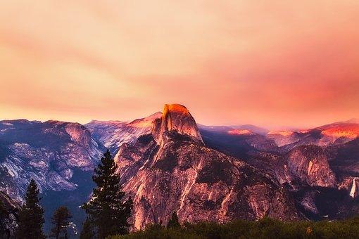 Yosemite, National Park, California, Mountains, Sunset