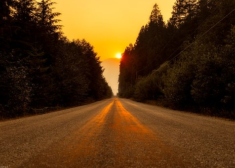 Canada, Landscape, Road, Highway, Sunset, Sunrise