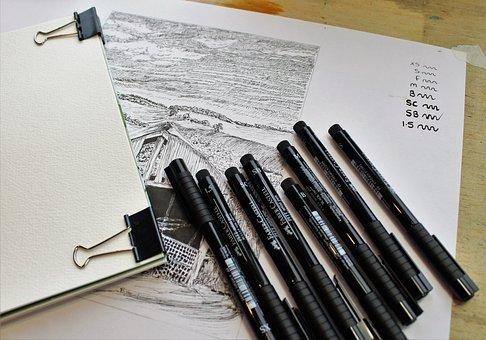 Ink, Pens, Sketch, Sketchbook, Drawing, Draw, Art