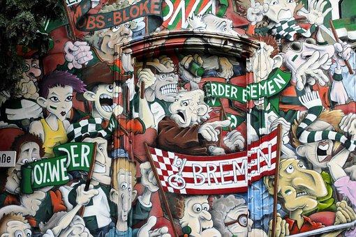 Fan, Fans, Hauswand, Grafitti, Graffiti, Painted