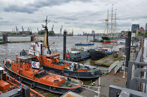 Hamburg, Port, Elbe, Hanseatic City, Port Of Hamburg