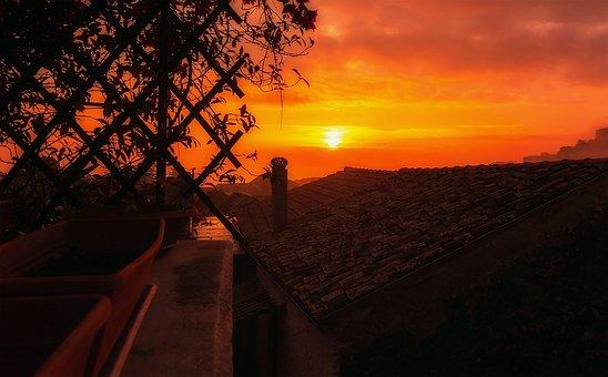 Sunset, Sun, Italy, Castrocielo, Landscape, Vista