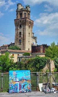 Art, Artist, Work, Tower, Original, Painting, Italy