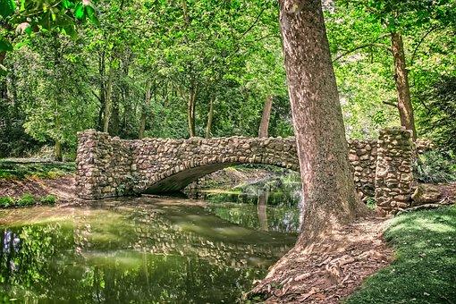 Stone Bridge, Lagoon, Bridge, Stone, Water, Landscape