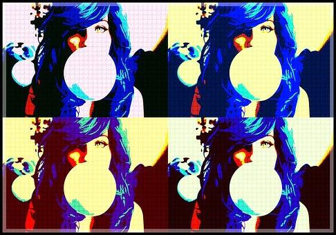 Pop Art, Edit, Girl, Bubble Gum