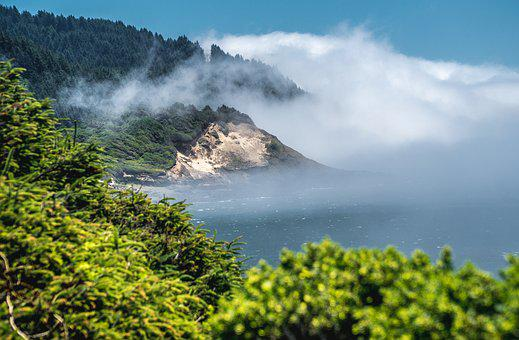 Pacific, Pacific Ocean, Ocean, Clouds, Fog, Mountains