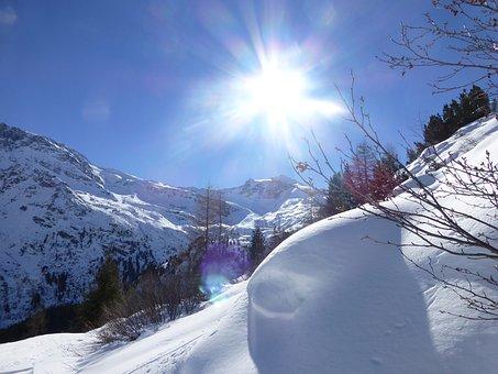 Snow, Sun, Back Light, Winter, Mountains, Wintry, Tyrol