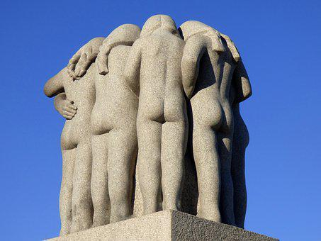Sculpture, Girls, Stone, Granite, Together, Oslo
