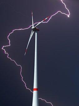 Pinwheel, Wind Power, Thunderstorm, Flash, Electricity
