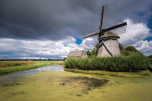 Windmill, Pond, Clouds, Sky, Landscape, Architecture