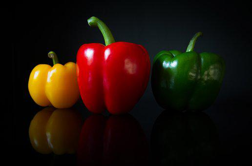 Colorful, Peppers, Black, Background, Reflections