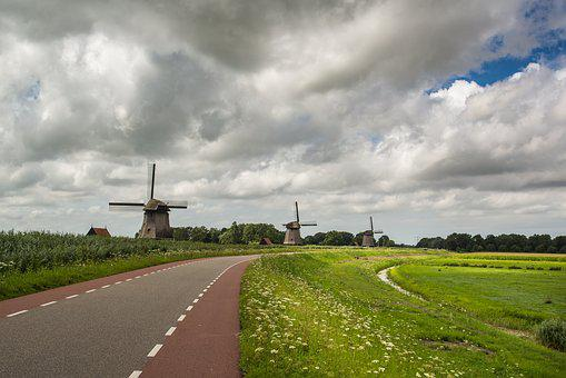 Windmills, Pond, Clouds, Sky, Landscape, Architecture