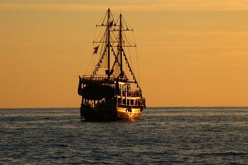 Sea, Boot, Water, Ship, Sunset, Ocean, Beach