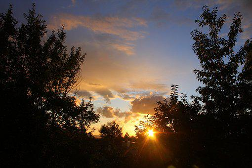 Sunset, Cloud, Sun, Rays, Sky, Nature, Landscape
