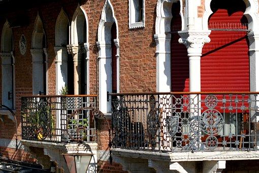 Venice Italy, Balcony, Wrought Iron, Lions, Arches