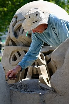 Sand Sculptures, Artists, Working, Shaping, In The Work