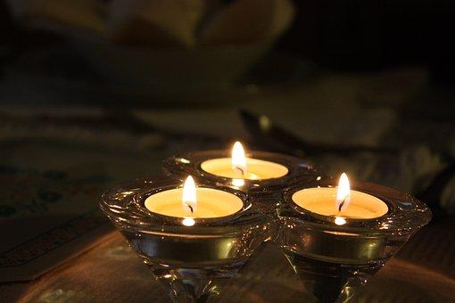 Tea Lights, Light, Candles, White, Table, Glass, Wax