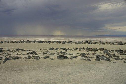 Cloud, Storm, Spiral Jetty, Great Salt Lake, Stone