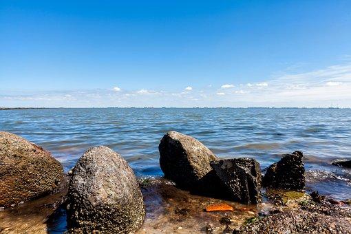 Sea, Bank, Nature, Water, Stones, Pebbles, Sky, Coast