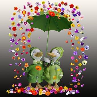 Flowers, Flowers Rain, Umbrella, Ducks, Garden Statues