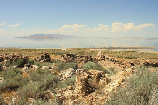 Antelope Island, Great Salt Lake, Lake, Antelope, Salt