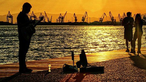 The Piper, Guitar, The Promenade, Music, Port