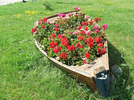 Flowerbed, Flowers, Old Boat, Second Life, Grass, Hobby