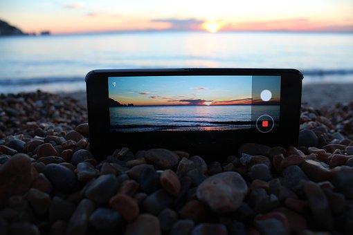 Phone, Sunset, Lifestyle, Sea, Sunlight, Holiday, Beach