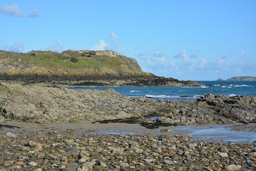 Rocks, Sea, Blue, Brittany, Coastline, Cliff, Side