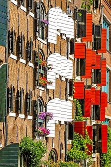 Home, House, Facade, Brick, Shutter, Colorful