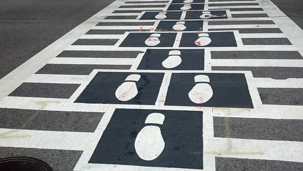 Crosswalk, Footprints, Pedestrian, Traffic, Crossing