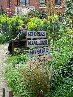 Sign, Garden, No, Phoenix Gardens, Camden, London